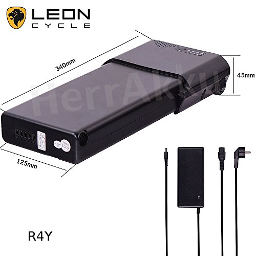 E-Bike, Pedelec Gepäckträgerakku, Lithium-Ionen Akku 36V 10,4Ah SAMSUNG Zellen, mit Aufladegerät, schwarz (R4Y)