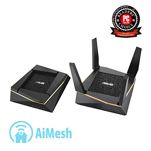 ASUS RT-AX92U Ai-Mesh Kit - Sistema Dual WiFi AiMesh AX6000 Tri-Banda Gigabit (OFDMA, MU-MIMO, Triple VLAN, Cobertura Largo Alcance, AiProtection Pro, soporta Ai Mesh WiFi)