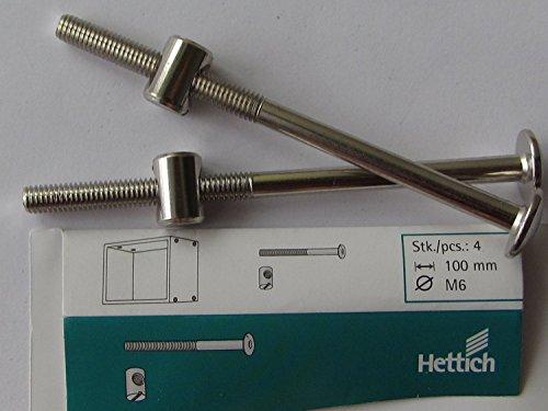 Hettich Verbindungsbeschlag mit Flachkopf und Kloben, M6 x 100 mm, Stahl verzinkt, 4 Stück, 9100645