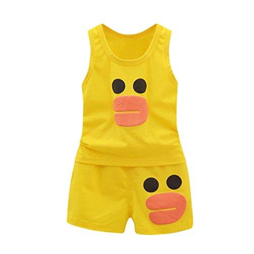QinMM niños Bebes Animados Pato Camiseta + Pantalones Cortos Conjunto, Camisa s...
