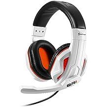 Sharkoon Rush ER1 - Auriculares con micrófono (control remoto integrado, 3.5 mm), blanco y negro