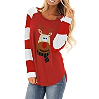 SERAPHY Women Jumpers Christmas Reindeer Long Sleeve Chunky Knitted Ribbed Sweater Jumpers Knitwear Top-M