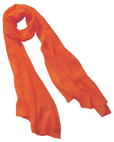 Nella-Mode Uni-Farbener Seidenschal, ca. 180x50 cm; reine Seide; Farbe gedecktes Orange -