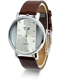 Estone – Hot Nuevo estilo relojes acero inoxidable mujer/hombre piel cuarzo reloj de muñeca Marrón marrón