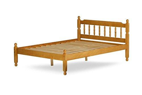 Happy Beds Colonial Solid Honey Pine Wooden Bed Drawer Bedroom Furniture with Deluxe Memory Foam Mattress 3' Single 90 x 190 cm