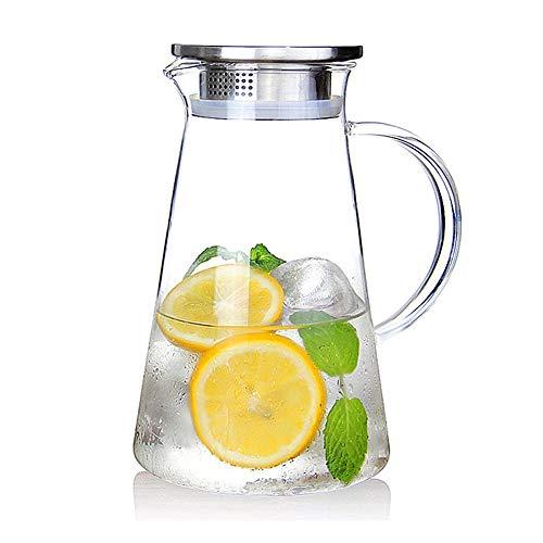 susteas 2.0 Liter 70 Unzen Glas Krug karaffe mit Deckel Eistee Krug Wasserkrug Heißes Kaltes Wasser Eistee Wein Kaffee Milch und Saft Getränkekaraffe wasserkaraffe