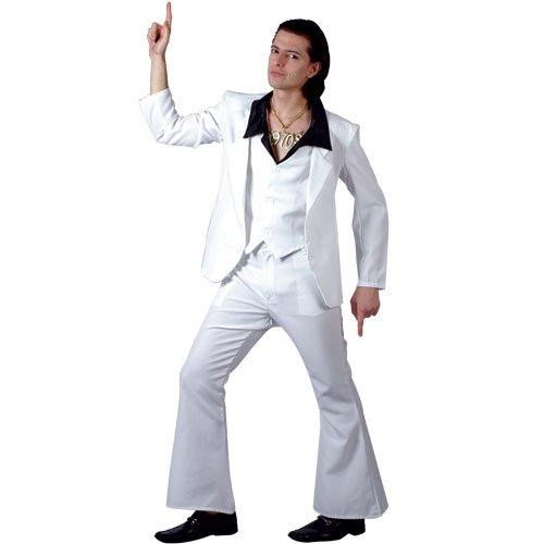 70s Disco Fever Kostüm. Large 112cm Brust. Hose, Jacke, waiscoat mit Hemd befestigt. (Mens Disco Kostüm Hosen)