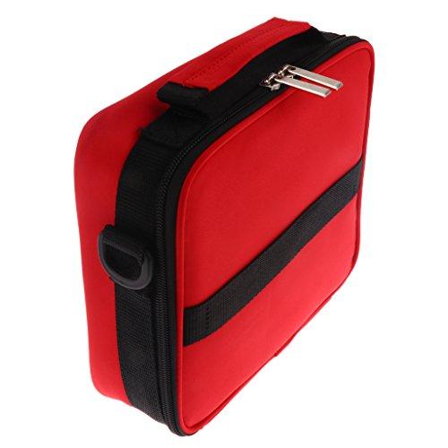 MagiDeal 30 Schlitze Aufbewahrungsbox mit Griff, Hartschale Tasche für ätherische Öle/ Nagellack, langlebig und wasserdicht, für 30 Flaschen - Rot