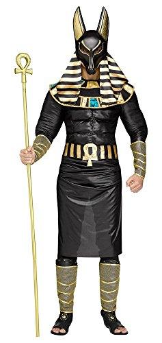 shoperama 7-teiliges Herren Kostüm Ägyptischer Gott Anubis König Ägypter Verkleidung Totengott Mythologie Gottheit, Größe:XL/XXL
