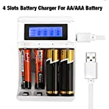 4 Slots Battery Charger For AA AAA Battery Includes 2 AA Slots And 2 AAA Slots