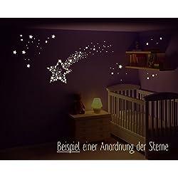 Wandtattoo leuchtende Sterne, Sternenhimmel, fluoreszierende Sterne, Kinderzimmer, Sternsticker, 3 x A5 Bögen (230 Sterne)