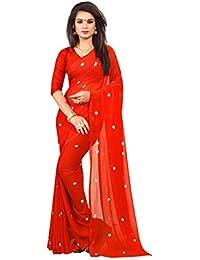 Amyaa Fashion Women's Chiffon Saree (Amyaa Orange_Orange_Free Size)
