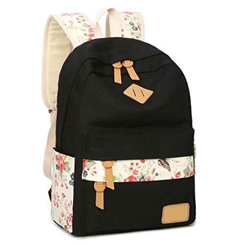 WanYang Blumendruck Art Mädchen Rucksack Schulranzen Damen Daypack Schoolbags Schultertasche Handtasche Geldbörse Satz / 3 Stück Schwarz