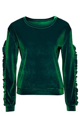 ECOWISH Damen Samt Top rundhals Langarm Winter Mode Sweatshirt Pullover Bluse Oberteil Grün