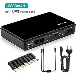 Shanqiu Mini Onduleur Back-UPS Alimentation Sans Coupure pour Routeur, Modem, Caméscope, Smartphone avec POE avec Construit en Batterie 8800mAH Entrée 100 ~ 240V AC Sortie 5V 9V 12V 15V 24V CC