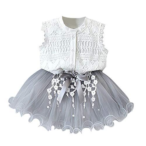 Zylione Mädchen Set Baby Lace Shirt + Perlen Mesh Rock Princess Dress Zweiteiliges Set