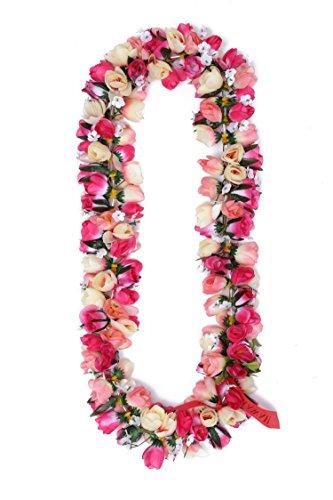 Hawaiian-Luau-Fiesta-Kapiolani-Tuberosa-Tela-Artificial-Flor-Lei-melocotn-rosa