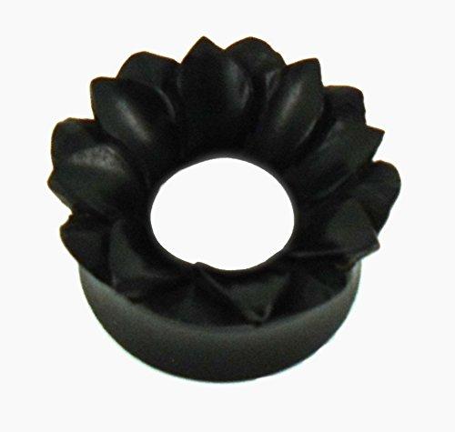 Tunnel bois fleur-plis noir unisexes modules boucles d'oreilles boucles d'oreilles sculpté à la main