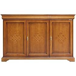 Aparador 3 puertas con frisos en madera, mueble de cocina y comedor