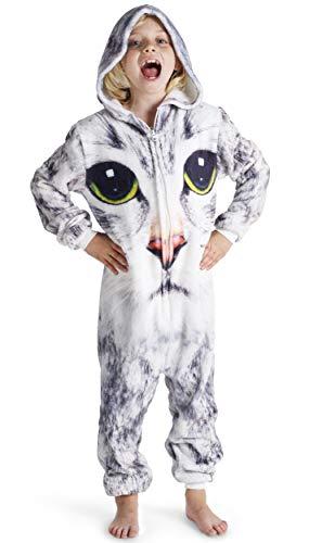 CityComfort Drachen-Kostüm,Dinosaurier Einhorn Koala Pinguin Kinder Jungen Mädchen Onesie Jumpsuit Anzug Kostüm Verkleidung Geburtstags (11-12 Jahre, Kitty)