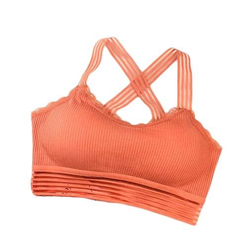 Gesammelt Bandeau Top (ZJEXJJ Sport Unterwäsche Yoga gesammelt Weste Kurze Weste Damen Keine Felgen BH weichen Schlaf-BH (Farbe : Orange, größe : S))