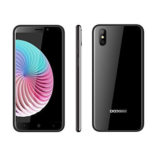 DOOGEE X50 Smartphone ohne Vertrag, Billige Senioren Handy, 5,0 Zoll, 3G Portable, Android Go Mobile, Telephone 1+8GB, Dual SIM, Kameras, Phone entsperrt Günstige bei weniger als 100 Euros, Schwarz