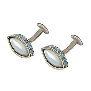 zartblaue Perlmutt Manschettenknöpfe mit hellen Kristallsteine und hellblauer Lackeinlage – besondere Form! inkl. Geschenkbox