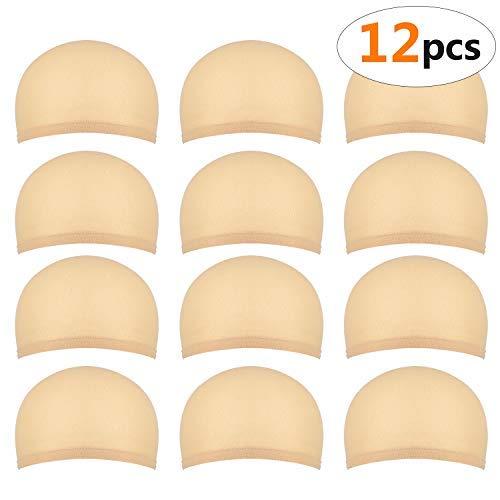 Scopri offerta per 12 pezzi Calotte per parrucche per uomo e donna, Retine per parrucche in nylon realizzati in tessuto elasticizzato e sottile, taglia unica (beige naturale)