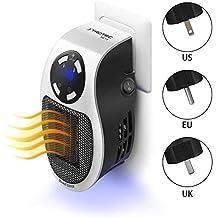 Aesy Mini Ventilador de Calefacción, Portátil 500W Programable Mini Salida de Pared Espacio Calentador Eléctrico