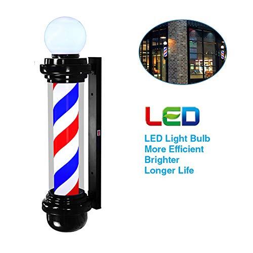 Poste de Barbero Giratorio,Luminoso Peluquería Salón Rojo, Azul Y Blanco Lámpara De Pared Impermeable Grande Muy Brillante,Red,68cm*26cm