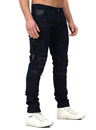 RNT23 Herren Jeans AVALON im Slim Fit Schnitt mit Kunstlederapplikationen und Destroyed Look Navy