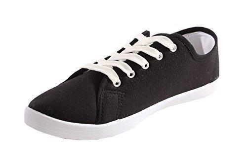 Damen Stiefel Damen Schuhe Pumps Wohnungen Plimsoll Leinwand Schnüren Oben Turnschuhe Turnhalle Größe 3-8 Schwarz 2