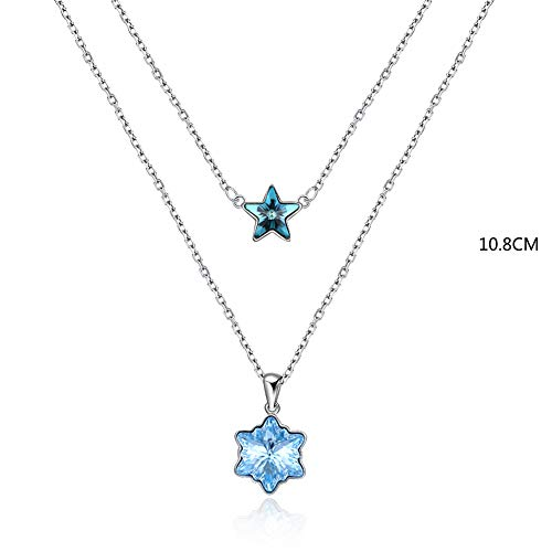 J.Memi's Kristall Halskette Stern Anhänger mit Kette Sterling Silber Schmuck für Mutter Liebhaber Freundin Ehefrau Einer Eleganten Geschenk,Blue