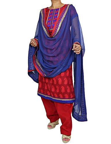 Wunderschöne Designer Baumwolle Salwar Kameez - Rot-Blau-Tone - Punjab Indian Design Für Frauen, Größe L (Hose Kameez)