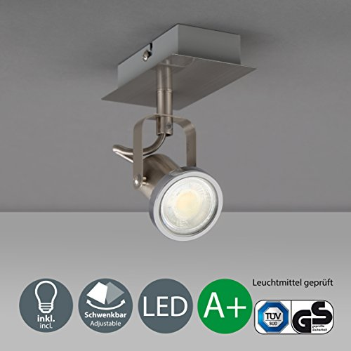 B.K.Licht LED Wandleuchte schwenkbar inkl. 1 x 5W Leuchtmittel GU10 IP20 LED Deckenlampe LED Wandlampe LED Deckenstrahler LED Lampe LED...