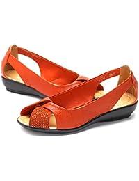 Socofy Zapatos Mujeres Sandalias Primavera Verano Comfort Soles Mocasines Claros Slip-Ons Flat Heel Round