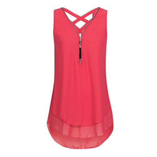 OverDose Damen Sommer Ärmellos T-Shirt Hemd Frauen Lose Tank Tops Kreuz zurück Saum Gelegt Reißverschluss V-Neck Tops(Rot,EU-42/CN-L) - Striped V-neck-shirt