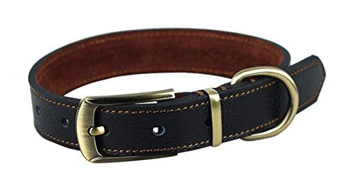 Rantow comodo in pelle imbottito fatto a mano nero colletto classico Dog Pet, regolabile formato del collo da 35 a 45 cm e 2,5 centimetri Ampio, regolabile cinghia di stile di facile impiego per collare medio / Cani di piccola taglia