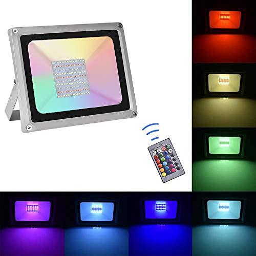 100W RGB Projecteurs LED Exterieur, IP65, 8000LM, Sararoom Lumières LED Extérieur 4 Mode 16 Contrôle couleur et télécommande, pour Mariage, Noël, Nouvel An, Discos, Anniversaire