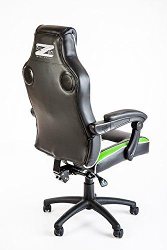 Br AZen Soundchair I Gamer Stuhl mit Sound System I Gamingstuhl mit Bluetooth I Multimediastuhl mit Lautsprechern für Gamer I Music Multimedia Bluetooth Racing Chair in Grün/weiß/schwarz (Bluetooth-stuhl)