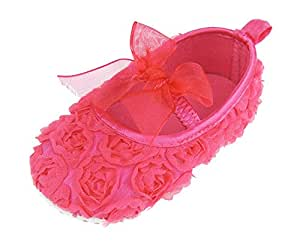 Soft Touch Baby Girls Floral Rose Covered Shoe Bow Elastic s Available from New-born to 12 Months (0-3 Months, Fuchsia)