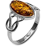 Baltic Honey Amber Sterling Silver Celtic Ring
