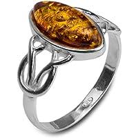Noda - Anello in ambra baltica color miele e argento sterling, stile celtico