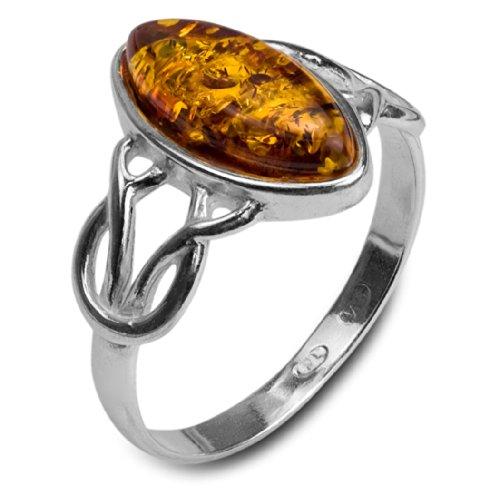 Noda Anello celtico da donna in argento 925/1000 e ambra, colore: miele, Argento 925/1000, 17, colore: arancione, cod. 31920-8-P