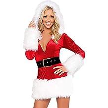 Longra Donna Babbo Natale Cosplay Costume Abito con Cappuccio Abito a  Maniche Lunghe con Scollo a ca5a4ff8587
