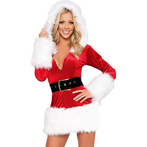 Longra Donna Babbo Natale Cosplay Costume Abito con Cappuccio Abito a Maniche Lunghe con Scollo a V Mini Vestito Biancheria Intima Erotica Babydoll Lingerie Camicie da Notte