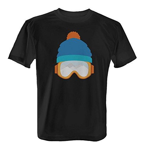 Fashionalarm Herren T-Shirt - Berge sehen | Fun Shirt mit Brille Motiv für Winter Urlaub Sport & Apres Ski Party, Farbe:schwarz;Größe:M