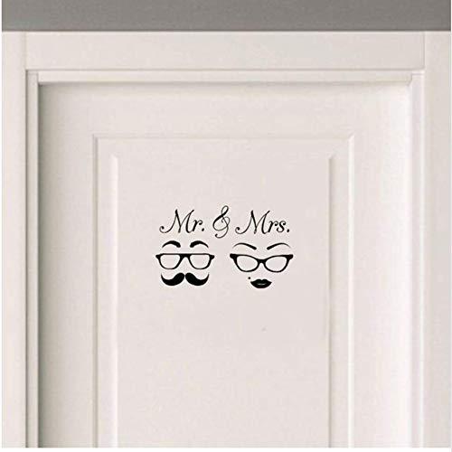 (Bzqt Wall Sticker 2 Stücke Gläser Schnurrbart Hochzeit Liebe Tür Aufkleber Removable Home Decoration Zubehör Wandaufkleber)
