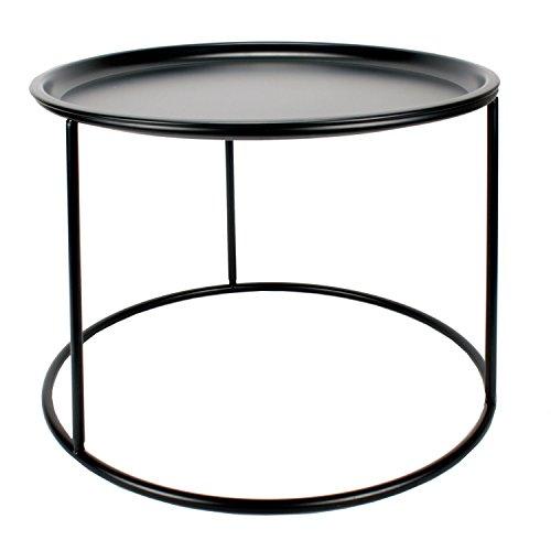 Roomando Beistelltisch Couchtisch Tisch aus Schwarzem Metall mit Abnehmbarer Platte/Tablett Ø 56 cm