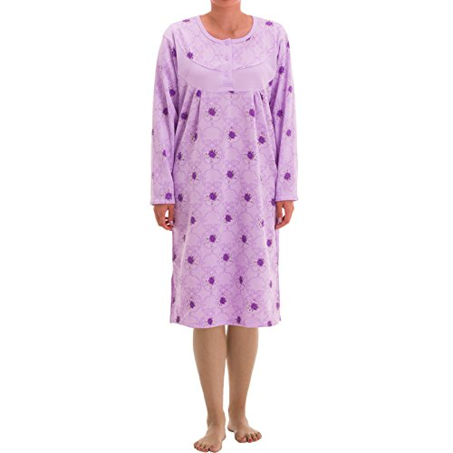 Lucky Thermo Nachthemd mit großen Blumendruck, Größe:XL;Farbe:Flieder - Langarm Thermo Nachthemd